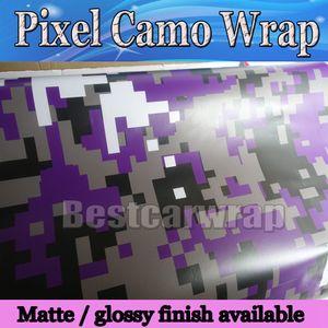 Roxo Pixel Camo Filme Vinil Carro Envoltório Com Air Rlease Caminhão Camuflagem Digital wraps cobrindo Filme camo Roxo styling Foil 1.52x30 m / Roll