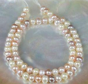 Elegante 9-10mm mar del sur blanco rosa púrpura perla collar multicolor 18 pulgadas 14k broche de oro
