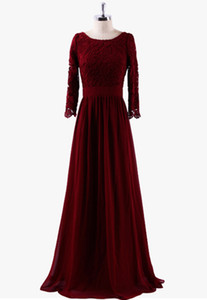 Lace Chiffon Mother Of The Bride Dresses Sleeves 2018 Burgundy Mother Dress Long Elegant Formal Dresses