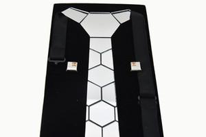 Christmas Gift Costume Necktie Handmade Acrylic Necktie and Sterling Cufflinks Silver Mirror Necktie