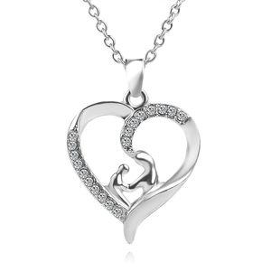 2018 kalp kolye Anne Kızı Anne Bebek Çocuk Aile Aşk Rhinestone Kalp şeklinde Kolye Kolye 12 adet ZJ-0903529