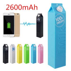 100pcs Universal power bank lait design 2600mAh sauvegarde power protable chargerpowerbankbank Compatible avec les téléphones mobiles USB chargé