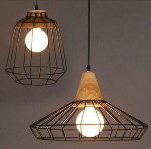 retro Loft led industrial pendant lighting wooden pendant chandelier Bar Kitchen Home Decoration E27 Edison Light Fixtures Iron Pulley Lamp