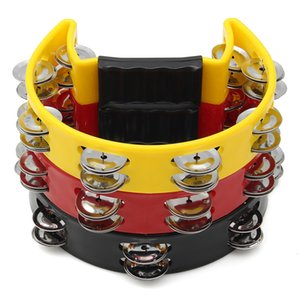 3 Colors Musical Tambourine Hand Held with Double Row Metal Jingles Percussion Drum Party Gift Handle Percussion Instruments