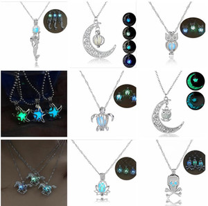 9 stili Glow In The Dark Turtle Mermaid collana gufo Hollow pearl cage pendente luminoso tartaruga Fascino collane Per le donne Gioielli di lusso