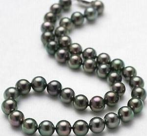Горячая 8-9 мм натуральный таитянский Черный жемчуг ожерелье 18 дюймов 925 серебряная застежка