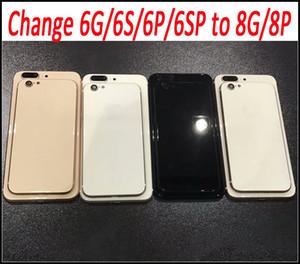 IPhone 8 için Artı Stil Geri Konut ile Metal Çerçeve Pil Kapı Değiştirme iPhone 6 6 Artı 6 SPlus Siyah Beyaz Altın Ücretsiz Kargo