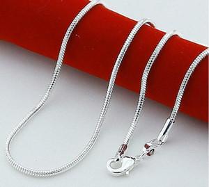 925 Sterling Silber überzogene Schlangenkette Halsketten für Frau Karabiner glatte Kette Anweisung Schmuck Größe 1mm 16 18 20 22 24 Zoll