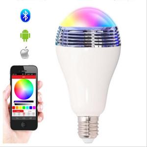 Contrôle sans fil Bluetooth Smart Musique Smart Audio Haut-parleur LED RVB Couleur Ampoule Lampes E27 Haut-parleurs Bluetooth en gros 5pcs / lot