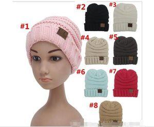 Cosplay Mode kinder Winter Warme Mütze Strickmütze Label Kinder Einfache Chunky Stretchable kinder Strickmützen Baby Hut Beanie Skully Hüte