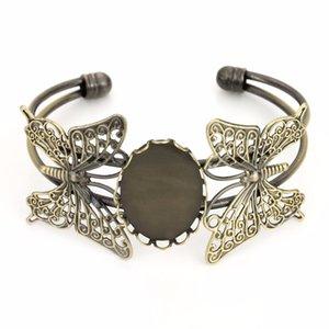 DIY 팔찌 레트로 스타일 청동 골동품 Cuivre Paramètres Vierges Lunette 고원 Double Papillon Bracelet Base 적합 18 * 25mm 카보 숑