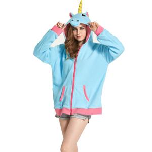 새로운 참신 여성 후드 패션 만화 유니콘 스웻 셔츠 Tracksuits 여성 gardigan 후드 소녀 겨울 귀여운 후드 자켓
