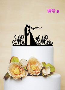10pcs acrilico Cake Cake Topper con script MRMRS Decorazione di nozze Toppers per matrimoni Nome personalizzato Data Groom Bride