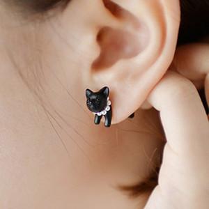 3D Симпатичные черные кошки пирсинг серьги-гвоздики для женщин, девушек и мужчин, жемчужные каналы, ювелирные изделия