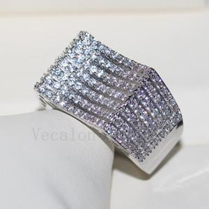 Vecalon Anello gioielli di lusso all'ingrosso Pave set 168pcs diamante Cz 925 Sterling Silver Fidanzamento Wedding Band ring per le donne regalo