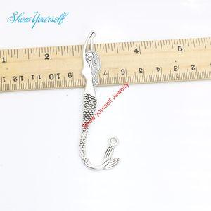 20 pcs / lot Tibétain Argent Plaqué Sirène Marque-page Charmes Pendentifs pour Bracelet Fabrication de Bijoux Artisanat À La Main DIY 82x22mm