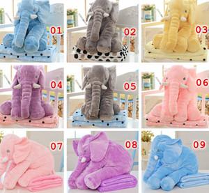 Almohada + Manta Conjunto Elefante Suave Felpa Almohada Mantas Animales Muñecos de peluche Juguetes Dibujos animados Sofá Ropa de cama Cojín Cojín 11Color