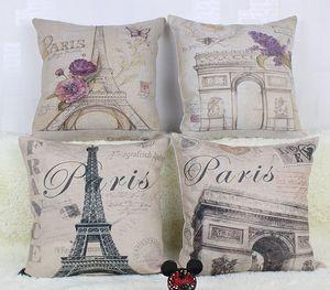 "Retro Vintage Leinen Kissenbezug Blumen Paris Eiffelturm Home Decor Kopfkissenbezug Kopfkissenbezug 18"""