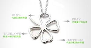 Catena collana d'argento del cuore della cavità del foglio Collana di Lucky Four Leaf Clover Collana di Lucky di fascino del fiore DHL Pendant