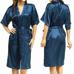 Wholesale-Mens Womens Plus Size Long Satin Bath Robe Sexy Kimono Silk Bathrobe Men Peignoir Homme Dressing Gown for Men Summer Robes