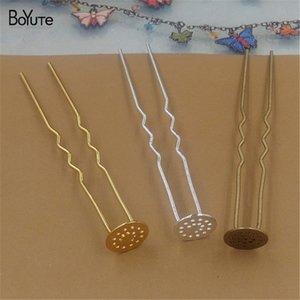 BoYuTe 20 Pieces 12MM 7 color Cabochon Base Metal Hair Stick Wholesale Diy Hair Jewelry for Women