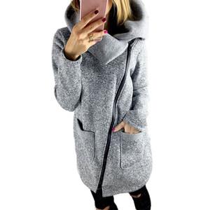 Vente en gros-Hiver Automne Saison Femmes Chaudes Manteaux De Base Casual Veste À Capuche Manteau Long Zipper Sweat Outwear Haut chaquetas mujer
