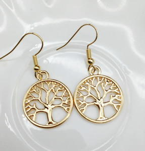 gold silver plated tree of life earrings women fashion life tree peace charm earrings
