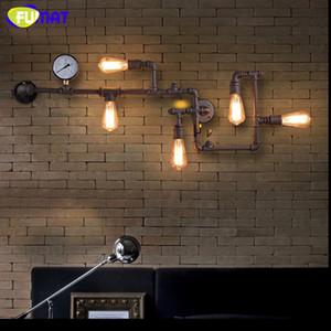 FUMAT Lampada da parete per pipa in ferro battuto Loft Vintage Industrial Bar Cafe Lampade da parete in bronzo Aisle Bronze con lampadine Edison E27