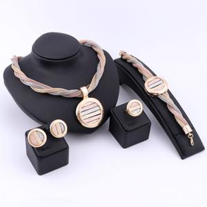 Дубай 18k романтический золото посеребренные Кристалл ожерелье серьги кольцо браслет ювелирные наборы для девушки женщины свадьба