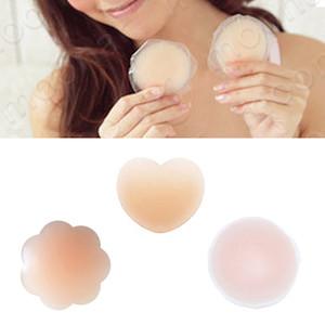 Riutilizzabile forma rotonda seno silicone pasticcini petalo pastiglie adesive copricapezzoli sexy reggiseno invisibile patch shaper nastro adesivo