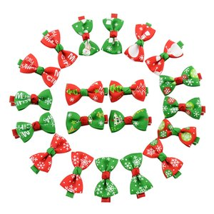 New Girls Christmas hairpins Barrettes bow with clip children snowflake snowman hair accessories princess Bow Hair clips 10 colors C1517