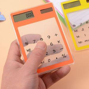 Прозрачный калькулятор корейский творческий студенты канцелярские ультра-тонкий солнечный мини-компьютер портативный обучение офис