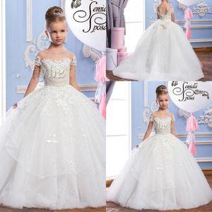 2019 vestido da comunhão Lace Puffy Tulle vestido de baile vestidos da menina da apliques Meninas Pageant Vestidos Vintage Big Bow Voltar Custom Made