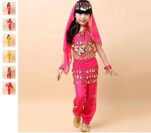 밸리 댄스 의상 세트 5 피스 세트 (탑 + 바지 + 허리 체인 + 베일 + 팔찌) Bellydance for Girls 3colors Belly Dancing Costume