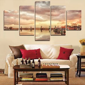 5 Panel Modern Home Decor Abstract Canvas Painting Retro City Street Landscape Pictures Decorative Paintings 5 Panel Wall Art No Framed