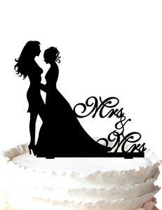 свадебный торт топпер-гомосексуальные лесби торт украшения миссис и миссис ,невеста и невеста, 37 цвет для варианта Бесплатная доставка