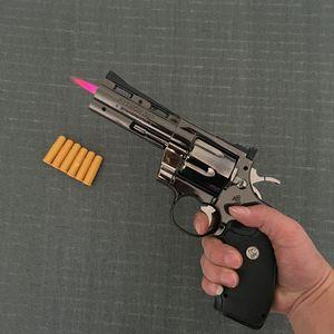 Python revólver encendedor de metal revólver tipo arma inflable a prueba de viento encendedor muebles adornos personalizados ornamentos 357 arma lighte