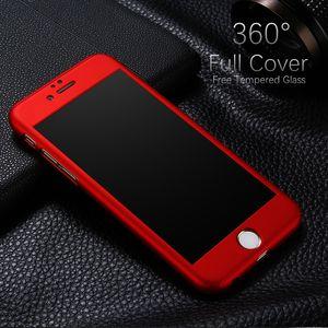 Для iPhone 8 X роскошные полный защиты тела жесткий PC пластик тонкий Utra тонкий чехол с закаленным стеклом для iPhone 7 6 6 S Plus 5S SE