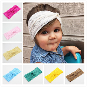 20 Cores Do Bebê Meninas Rendas Altas Headbands Crianças Macio Cruz Knot Hairband Crianças Acessórios Para o Cabelo Faixa de Cabelo Headwear Fotografia KHA354