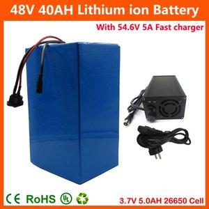 2000W 48V 40AH электрический велосипед литиевая батарея 48V скутер батарея 26650 5000MAH сотовый 50A BMS + 54.6 V 5A быстрое зарядное устройство