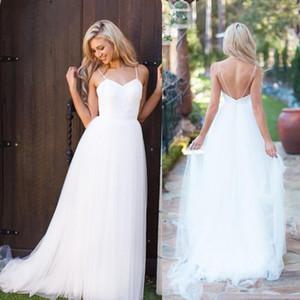 2016 Nova Chegada Simples Vestidos de Casamento Tiras de Espaguete Tule Até O Chão Estilo Country Beach Garden Vestidos de Noiva