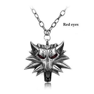 2016 venda quente pingente assistente Witcher 3 medalhão pingente de colar colar de cabeça de lobo U escolher cor Halloween colar e pingentes