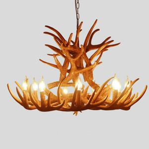 Vintage Antler Lámpara colgante E14 Candle Bulb Retro Resin Deer Cuerno luces colgantes Decoración Light 6 cabezas / 9 cabezas