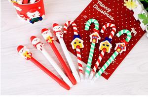 Bonito Boneco De Neve De Natal Bola De Cerâmica Caneta muletas Dos Desenhos Animados de Natal Papai Noel Esferográfica Escritório Escola Papelaria