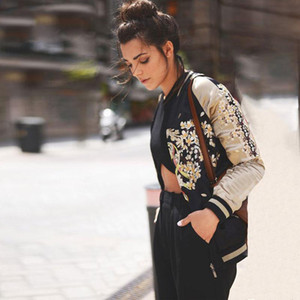 Giubbotto bomber in raso con ricamo phoenix Donna Giubbino con ricamo floreale sukajan Autunno Inverno streetwear giacche basic