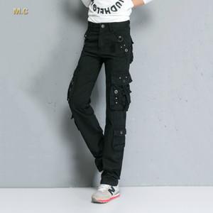 Pantalones cargo de mezcla de algodón para las mujeres más tamaño mezcla de algodón bolsillo de cintura alta otoño primavera ejército verde pantalones casuales longitud completa ttd0601