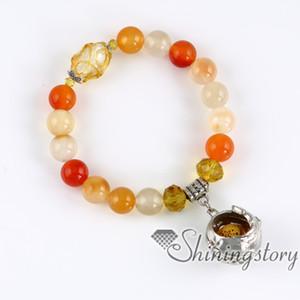 ali di palla openwork beaded braccialetti di fascino bracciali olio essenziale diffusore gioielli aromaterapia braccialetto profumo medaglioni semi preziose ston