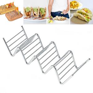 Edelstahl-Taco-Halter färbte wellenförmige Nahrungsmittelzahnstangen-Torten-Pfannkuchen-Gestell-Backen-Gebäck-Werkzeuge freies Verschiffen WX9-21
