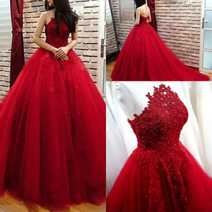2020 Sexy Dark Red Ball Gown Evening Dresses Lace Appliques Beads Sleeveless Tulle Puffy Open Back Sweep Train Prom Dress Formal Party Gowns