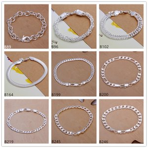 Mixed style 8 pieces a lot fashion men's sterling silver plated Bracelet,Snake chain Shrimp buckle faucet plate 925 silver Bracelet EMB27